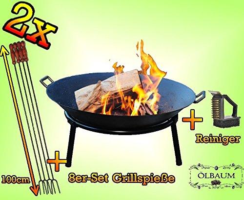 2 Stck. Holzfeuer GRILL Feuerschale aus Gusseisen mit 2 Griffen + Standring, LEICHT+STABIL mit je 8 Spieße und Bürste