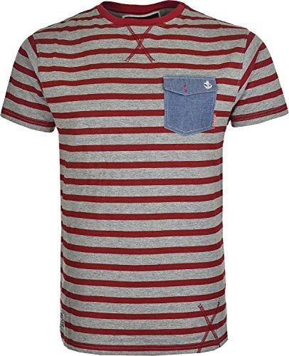 Para hombre Soul Star T Camisa Rayas de Manga Corta con bolsillo delantero gris/rojo