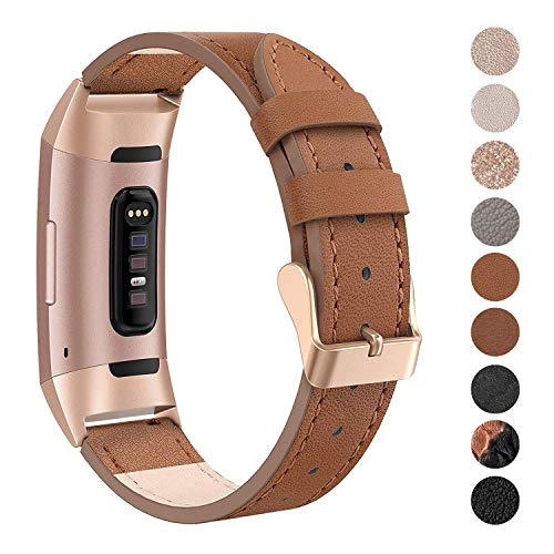 SWEES Leather Bands Compatible Fitbit Charge 3 & Charge 3 SE Fitness Tracker, Genuine Leather Band Strap Wristband Replacement for Women Men Small & Large, Black, Rose Gold, Beige, Brown, ()