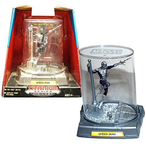 Patina Hanging (Hasbro Year 2006 Marvel Heroes Titanium Die-Cast Series 4 Inch Tall Action Figure : SPIDER-MAN Hanging At The Pole (Patina Finish) with Display Case)