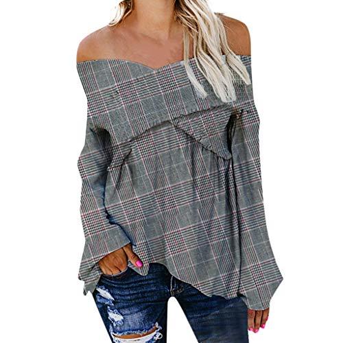 2019 New Women's Lattice Blouse, VECDUO Sexy V-Neck Off Shoulder Shirt Plaid Shirt Loose Tops ()