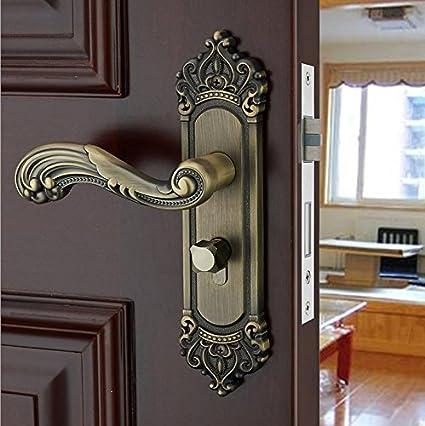 Dormitorio de estilo europeo antiguo bronce puerta de madera sólida cerraduras puerta manija puerta cerradura 35-45MM universal cerraduras: Amazon.es: ...
