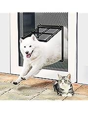 """Pet Door for Screen Door Medium Large Dog Door Screen Door Sliding Lockable Adult Cat Door Magnetic Automatic Closing, Inside 12""""x16"""""""