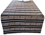 Corona Decor Extra-Wide Italian Woven Stripe Table Runner, 95 by 26-Inch, Black/Gold