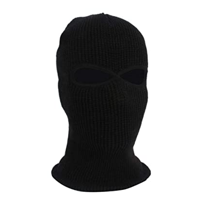 5cef9a36b4e Amazon.com  Per Full Face Winter Warm Masks with 2 Holes Knit Balaclava Hat  Stretch Snow mask Thermal Ski Cycling Mask for Men Women  Sports   Outdoors