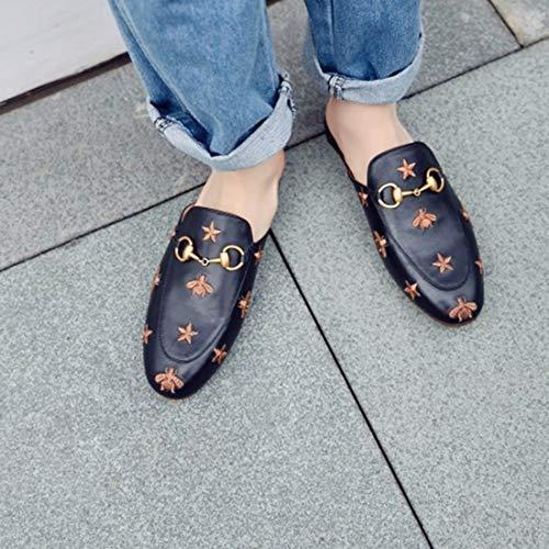 Ye Gback Loafers Cerrado Piel Women Guantes Flat Planas Verano Pantuflas Slin Shoes Tiempo Schlupfen Slippers Negro1 Libre Mule Zapatillas Mujer pw4q0xOrp