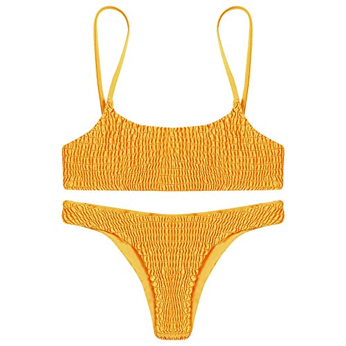 KCatsy Sexy Pleated Bikini Women Swimsuit Swimwear Set Beachwear Bathing Suit Bright Yellow ()