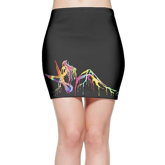 Porrytop Feminist Satanic Pentagram AK47 Womens Fitted Mini Skirt Stretch Bodycon Pencil Skirt S