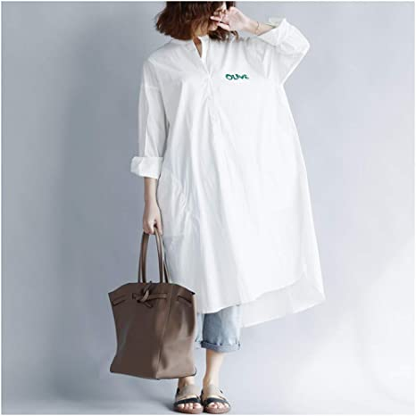 QAQBDBCKL Vestido De Camisa Blanca para Mujer Inserto De Manga Larga Mantones Femeninos Otoño Nuevo Botón De Estilo Coreano Vestidos De Mujer: Amazon.es: Deportes y aire libre