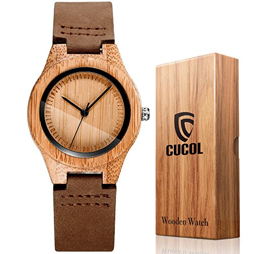 CUCOL Womens Wooden Bamboo Watches Brown Genuine Cowhide Leather Strap Wristwatch with Gift Box - Leather Strap Wrist Watch