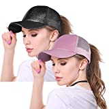 ZOORON Womens Ponytail Baseball Hat, High Ponytail Cap Messy Bun Dad Hat Trucker Hat for Women (c3glitter-Black&Pink)