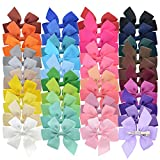 LCLHB 40 Colors 3 Inch Boutique Grosgrain Ribbon Pinwheel Hair Bows For Baby Girls