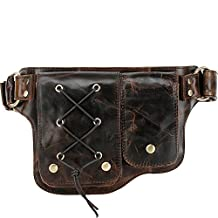 Vicenzo Adonis Genuine Leather Waist Purse Fanny Pack (Y-Brown)