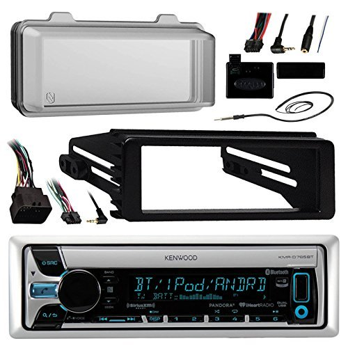 Kenwood KMR-D765BT Marine Radio Stereo Receiver - 1998 2013 Harley Davidson Motorcycle Touring Flht Flhx Flhtc Bundle With Metra Adapter Dash Kit + Radio Cover + Steering Control + Enrock Wire Antenna Cleveland Indians Hitch Cover