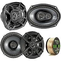 2 Pair Car Speaker Package Of 2x Kicker CSC654 600-Watt 6.5 Inch 2-Way Black Coaxial Speakers + 2x CSC6934 900W 6x9 CS Series 3-Way Speakers - Bundle Combo With Enrock 50 Foot 14 Gauge Speaker Wire