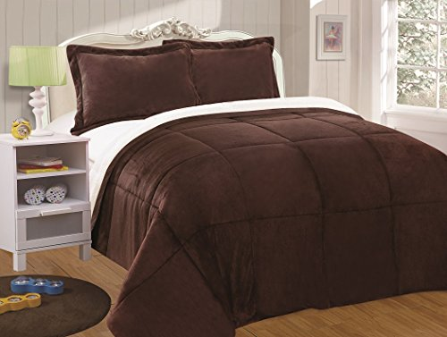 Chezmoi Collection 3-piece Micromink Sherpa Reversible Down Alternative Comforter Set (King, Chocolate)