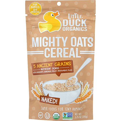 Little Duck Organics Cereal - Organic - Mighty Oats - Naked - Age 6 Months Plus - 3.75 oz - case of 6