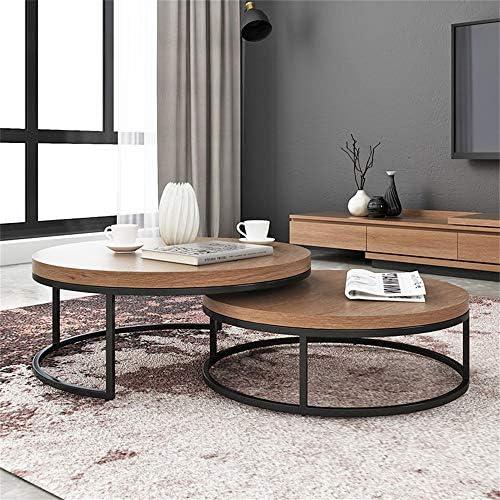 Oprecht 2 ronde salontafels van natuurlijk hout met Scandinavische bijzettafeltjes, waterdicht, eenvoudige montage, consoletafels, bijzettafel voor woonkamer  82tjIyi