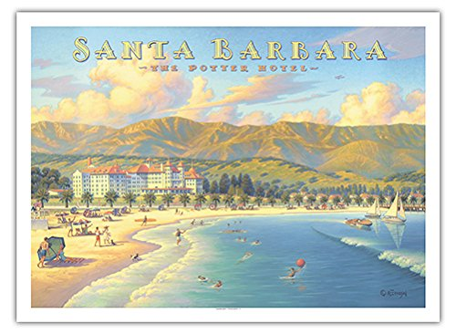 Santa Barbara, California - The Potter Hotel - Vintage Style World Travel Poster by Kerne Erickson - Fine Art Print - 44in x 60in - Hotel Santa Barbara California Art