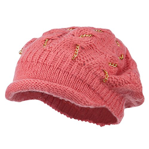 SS/Hat Rolled Brim Tam Beret with Gold Chains - Coral OSFM -