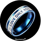 Couples Rings Engraved Love You Only His Hers Rhinestone Matching Promise Ring Blue Stainless Steel Valentine gift (MEN, 9)