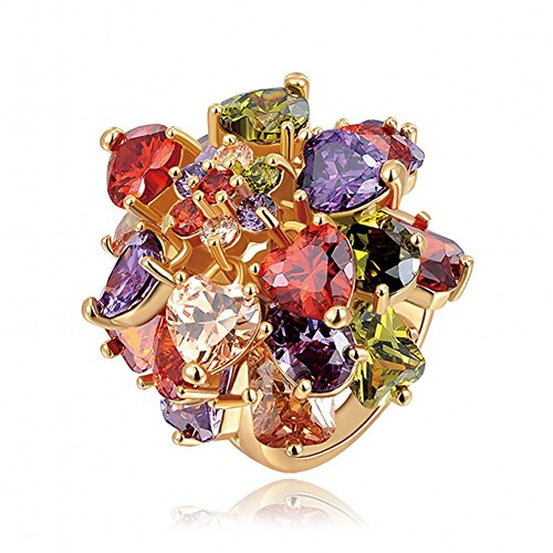Cubic Champagne Color Stone Zirconia (EZreal Lisa Champagne Gold-Color Multi-Color Cubic Zirconia Stone Big Women Rings Bling Crystal Flower Rings (7))
