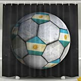 SARA NELL Shower Curtain Mold And Mildew-Resistant Argentina Flag With Soccer Bath Curtain Waterproof Polyester Fabric Bathroom Curtain With Plastic Hooks-72 X 72 Inches