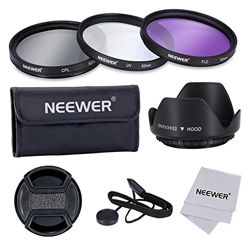 Neewer 52MM Lens Filter Accessory Kit:UV, CPL, FLD and Lens Hood for NIKON D7100 D7000 D5200 D5100 D5000 D3300 D3200 D3100 D3000 D90 D80 DSLR Cameras -