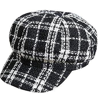 ACVIP Women's Fall Winter Plaid Newsboy Cabbie Cap Visor Beret Hat
