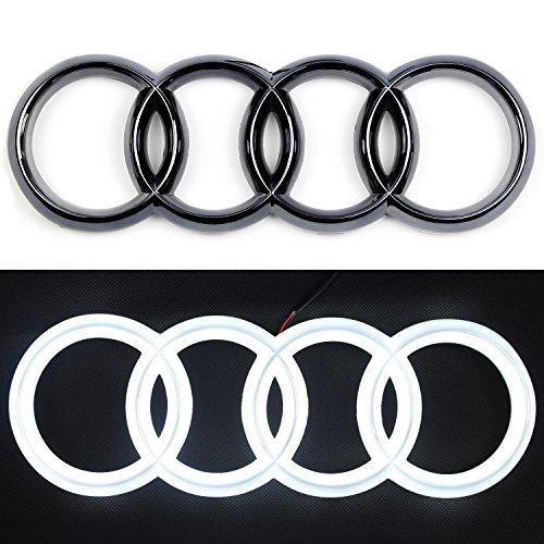 JetStyle 2018 UPGRADED Audi A3 A4 A5 A6 LED Emblem, Black Edition, Front Car Grill Badge, Auto Illuminated Logo, Glowing Rings, Lights DRL Daytime Running Lights White - Drive Brighter