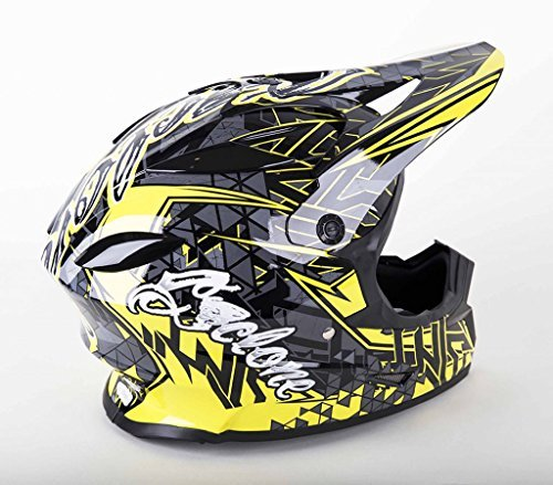 (Cyclone ATV MX Dirt Bike Off-Road Helmet DOT/ECE Approved - Yellow - Youth Large)