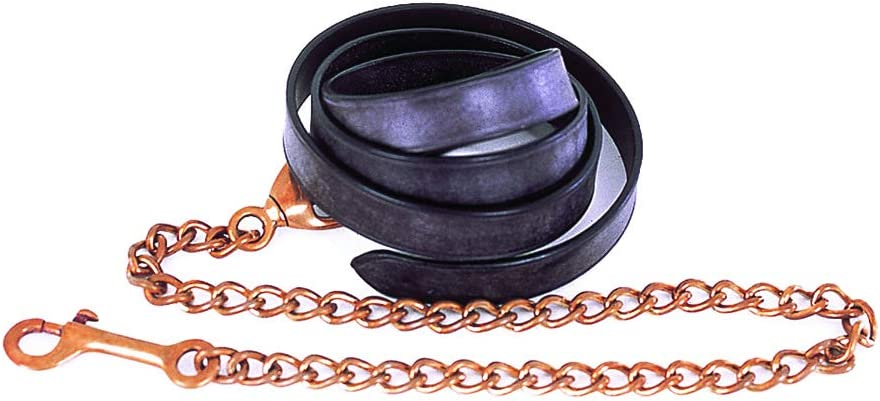 One Size Snowhill Heritage English Leather Lead And Chain in Black or Havana Havana
