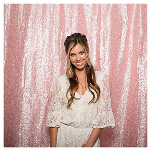 QueenDream 7ft x 7ft(84x84Inch) Pink Sequin Backdrop - Backdrop Photography and Photo Booth Backdrop for Wedding/Party/Photography/Curtain/Birthday/Christmas/Prom/Other Event -