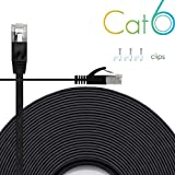 Ethernet Cable Cat6 Plus 30ft - Black Flat High Speed Internet Network Cable with Cable Clips - Computer Cable with Snagless Rj45 Connectors - 30 feet Black