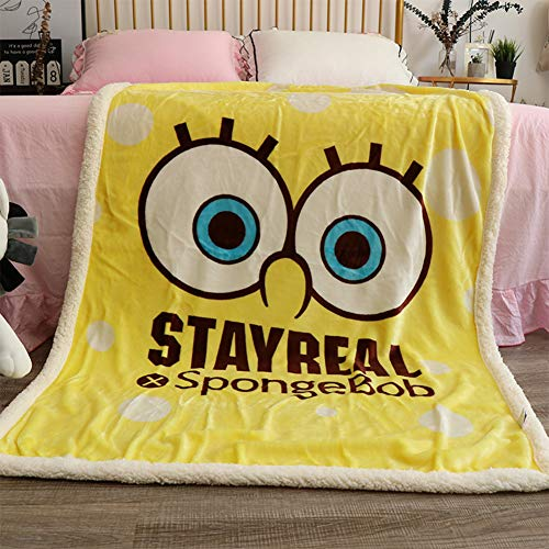 FairyShe Spongebob Fleece Throw Blanket Baby Soft Warm Nap Blanket, Yellow Blanket,Cartoon Coral Velvet Thin Crib Blanket,for Bed Couch Chair Baby Crib Living Room