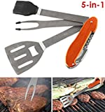 5-in-1 Multi‑Functional Folding Grilling Barbecue Tool, Stainless steel and aluminum construction will not corrode, Includes: spatula, grilling fork, basting brush, cork screw & bottle opener.