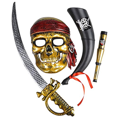 Pirate Skull Mask (4E's Novelty Halloween Pirate accessories Costume Set, Spooky Mask, Sword, Telescope and Blowhorn)