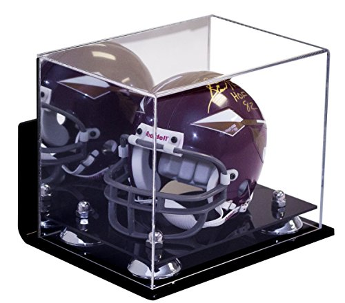 Better Display Cases Mini Football Helmet Display Case (not Full Size) Wall Mount, Mirror and Clear Acrylic Plexiglass with Silver Risers (A003-SR)