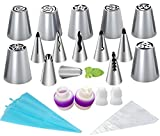 26-Piece Cake Decorating Kit Russian Piping Tips Icing Tips Set Tools,7 ...