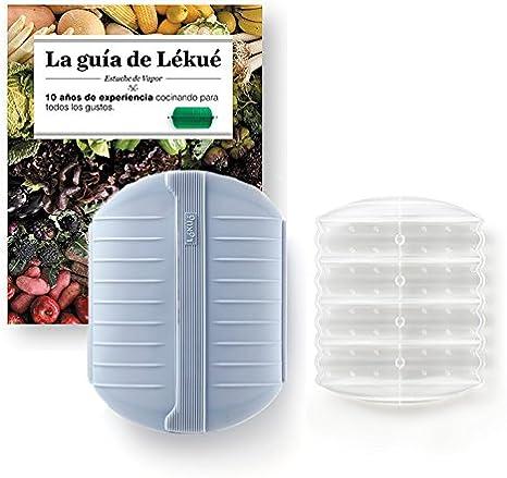 Compra Lekue - Estuche de vapor, Con bandeja y libro en Español, Gris azulado, 3 - 4 personas (1400ml) en Amazon.es