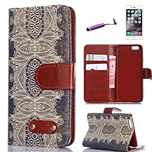 Retro Design Pattern PU Leather Full Body Cover with Card Stylus and Protective Slot for iPhone 6 Protective Smartphone Shell