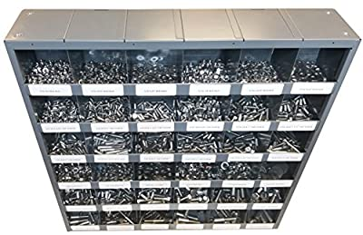 2510 Piece Stainless Steel Bolt Nut and Washer Assortment Hex Head Cap Screws Flat and Lock Washers Hex Nuts with 36 Hole Bin