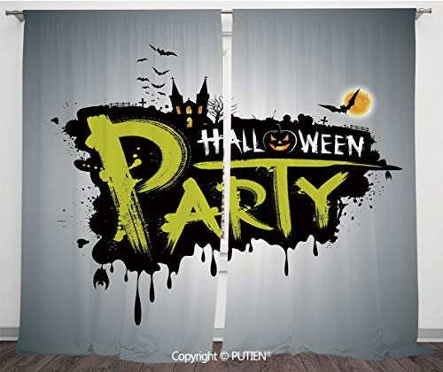 Satin Window Drapes Curtains [ Halloween,Halloween Party Hand Drawn Brushstrokes Artistic Design Grunge Cartoon,Yellow White Black ] Window Curtain Window Drapes for Living Room Bedroom Dorm Room Clas]()