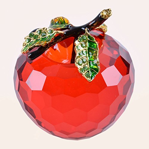 Longwin Cut Crystal Apple Figurine Paperweight 60Mm 2 4 Inch  Red