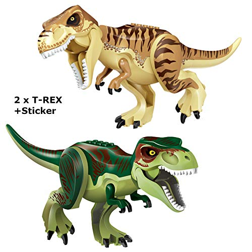 Pack of 2 Large T-Rex Dinosaur Building Blocks | 11.2x6.7 Green & Brown | Compatible with Lego Minifigures for Boys and Girls | Sticker Sheet Included | Great DIY Build Jurassic Dinosaur Toy Set! -  Lenken