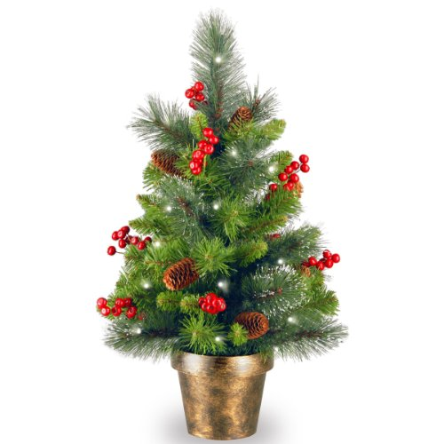 National Tree 2 Foot Crestwood Spruce Tree with Silver Bristle, Cones, Red Berries, 35 Battery Operated Soft White LED Lights in Bronze Pot - Entrance Bronze English