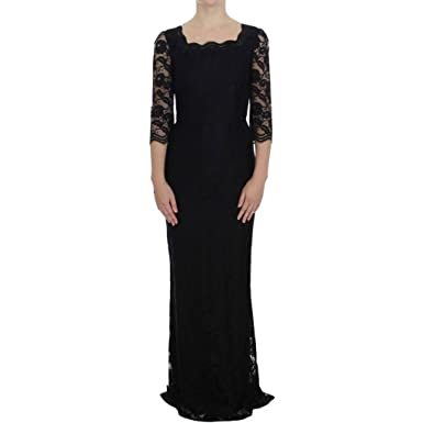 2c59334ca12 Amazon.com  Dolce   Gabbana Black Floral Lace Long Ball Maxi Dress ...