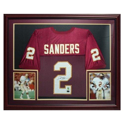 Deion Sanders Autographed FSU Florida State Seminoles (Garnet #2) Deluxe Framed Jersey - Sanders Holo