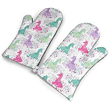 VshiXzno Sweet Unicorn Pink Pastel Girls Oven Mitts,Professional Heat Resistant to 500?? F,Non-Slip Kitchen Oven Gloves for Cooking,Baking,Grilling,Barbecue Potholders