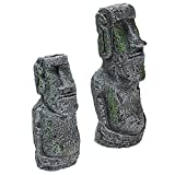 Kangkang@ 2 PCS Ancient Easter Island Head Statue Portrait Aquarium Fish Tank Ornament Home Desktop Decoration Accessories
